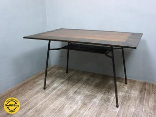 アンティーク調 天板x鉄脚テーブル カフェ 工業系 食堂 リメイク ◇