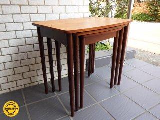 北欧 デンマーク DENMARK ビンテージ チーク材 ネスト テーブル 3連テーブル■