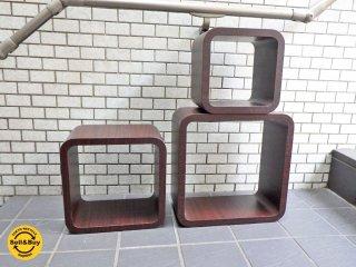 キューブラック ボックス収納 ローズウッドカラー シェルフ スタッキング ■