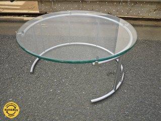 フクラ HUKLA TMRC センターテーブル Mサイズ サイドテーブル ガラストップ スチールパイプ サテンクロームメッキ ◎