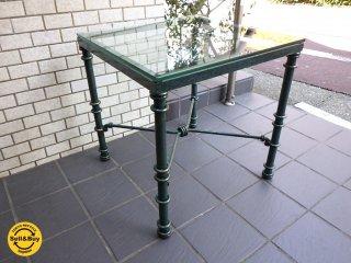 クラシック アンティーク スタイル 大理石調 粘板岩 ガラス サイド テーブル  ■