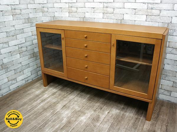 日進木工 nissin 飛騨の家具 サイドボード リビングボード オーク材 楢材 モダンデザイン ■