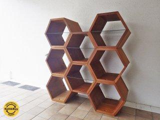 木製 ハニカムラック シェルフ 8連  飾り棚 無垢材 ガラス棚 ◇