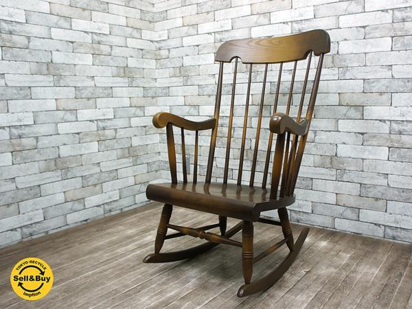 飛騨産業 キツツキ 穂高 安楽椅子 ロッキングチェア 定価約6.8万 コロニアル ウィンザー 美品 ●