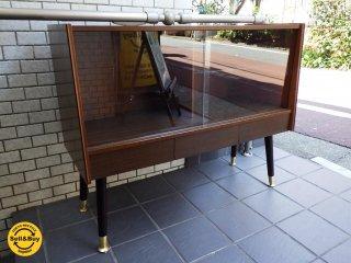 UK ビンテージ スモール ガラス サイド キャビネット 真鍮 飾り棚  ■