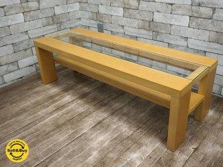 ケユカ KEYUCA ガラス ローテーブル コーヒーテーブル ナチュラル 廃盤 ●