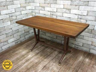 インダストリアルスタイル フォールディングテーブル ビンテージ鉄脚 x 古材板 リメイク ●