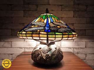 ステンドグラス テーブルランプ トンボ ティファニースタイル ●