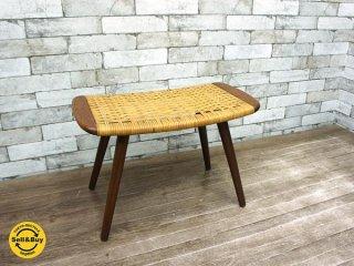 haruta購入 デンマーク ヴィンテージ チーク材 x ラタン編み スツール 北欧家具 ビンテージ ●