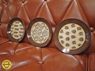 リサラーソン Lisa Larson  益子焼の皿 3枚組 マイキー ハリネズミ ライオン ◎
