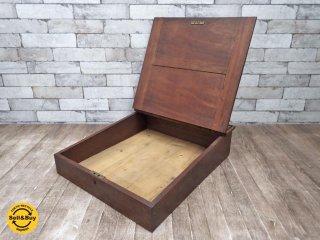 UKビンテージ フラップ式 木製ライティングBOX ショーケース ●