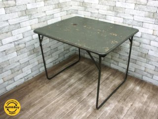 フランス軍 ビンテージ フォールディングテーブル 折り畳みテーブル A インダストリアル ミリタリー ワーキングテーブル ●