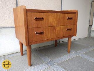 北欧 デンマーク 60's 〜 70's ビンテージ 『 チーク材 2段 ミニ チェスト 』 サイドテーブル ナイトテーブル 飾り棚 AVボード ★