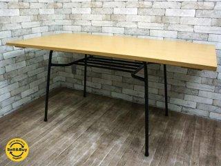 インプション リメイク ダイニングテーブル ナチュラルカラー 天板 x 黒鉄脚 カフェテーブル インダストリアル ●