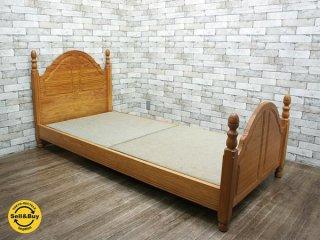 天然木 パイン材 無垢材 シングルサイズ 木製ベッドフレーム 英国カントリーテイスト ●