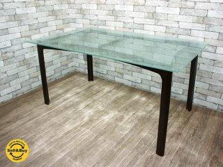 ワイスワイス wisewise ビーチ材 ガラス製 ダイニングテーブル AS-501B 成型合板 プライウッド ブラウン w150cm ●