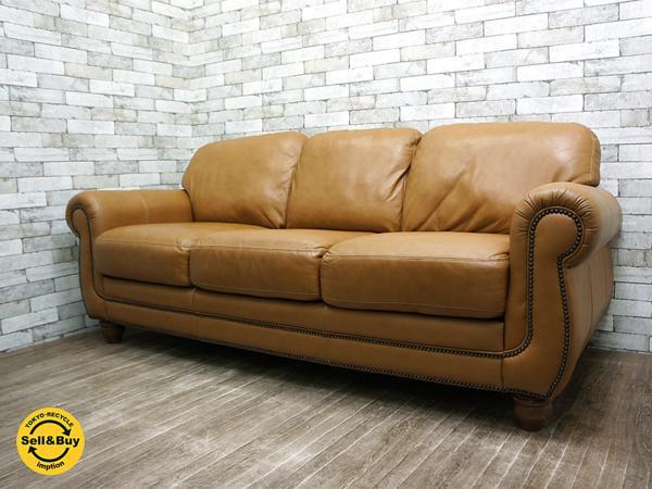 ビンテージスタイル 革張り 3人掛けソファ 鋲打ち メキシコ製 ●