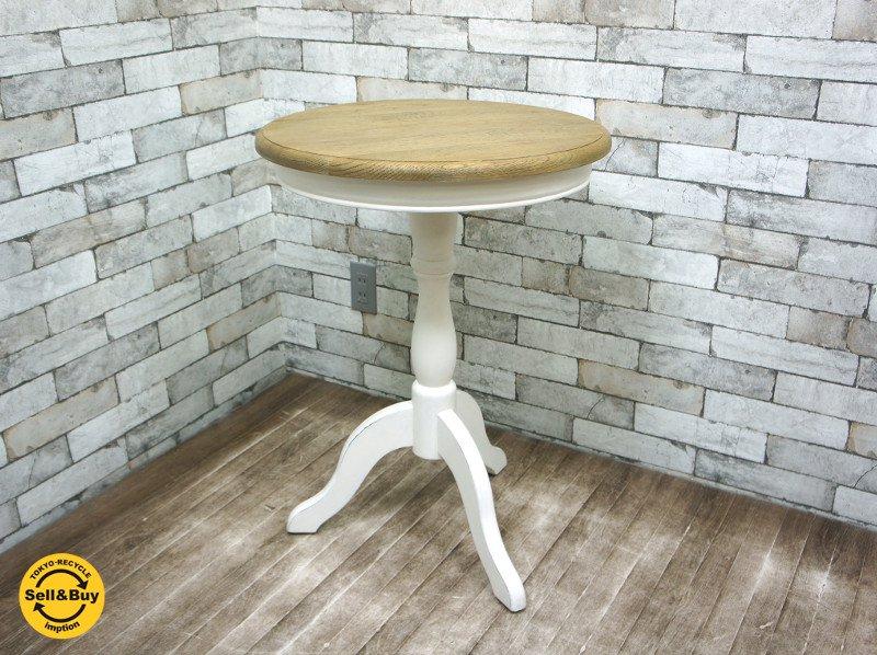 サラグレース SARAH GRACE デビューシリーズ DEBUT ミニテーブル ROUND MINI TABLE オーク天板 ホワイトレッグ ◎