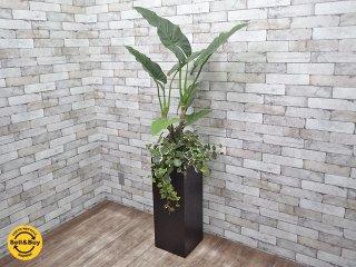 フェイクグリーン 人工観葉植物 造花 大型 木製ベース インテリア E ●