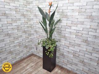 フェイクグリーン 人工観葉植物 造花 大型 木製ベース インテリア F ●