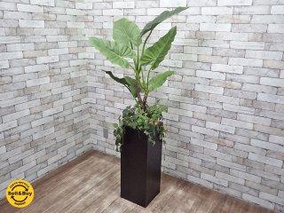 フェイクグリーン 人工観葉植物 造花 大型 木製ベース インテリア G ●