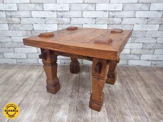 アジアン家具 チーク無垢材 サイドテーブル 天然木 ●