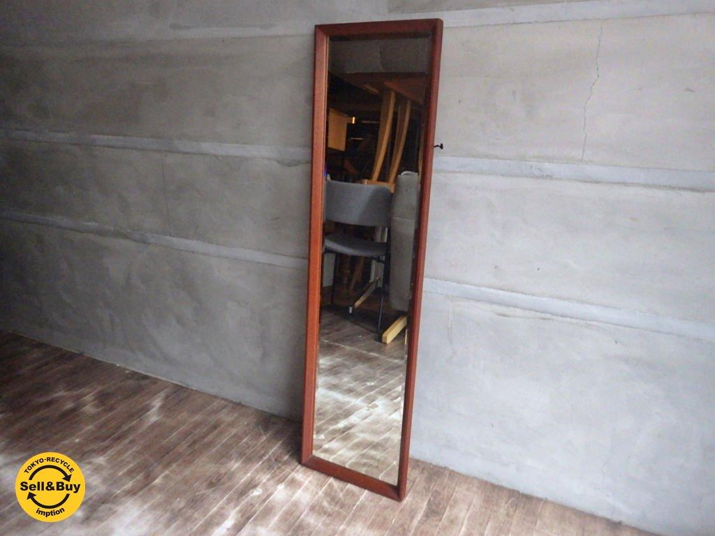 チーク材 ウォール ミラー 鏡 姿見 壁掛け ♪
