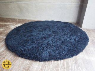ウニコ unico / 円形 ハンド フックド ラグ ブルー 150x150 毛足3cm ♪