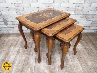 イタリア製 象嵌 ネストテーブル 猫脚 アンティーク調 ●
