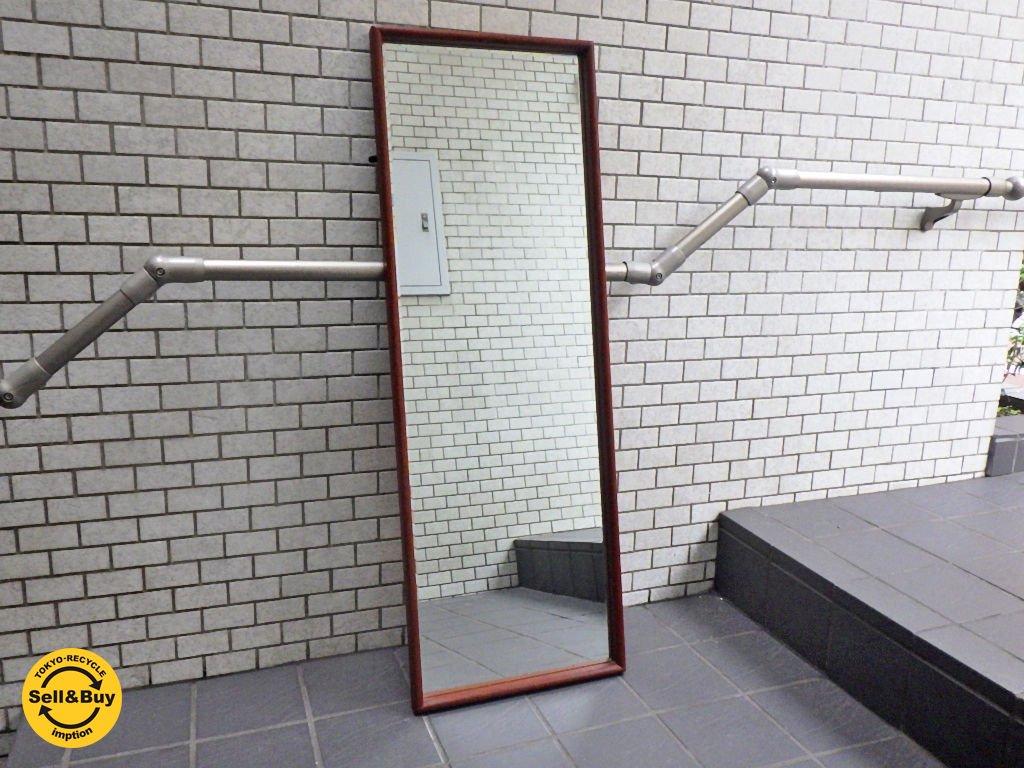ビンテージ チーク材 ウォールミラー 姿見 鏡 長方形 ■