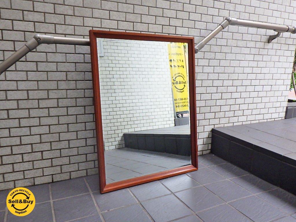ビンテージ チーク材 ウォールミラー 姿見 鏡 ワイド66cm ■