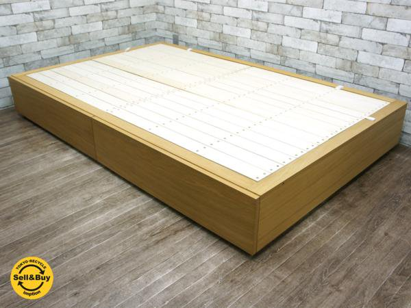 無印良品 MUJI オーク材 収納ベッド セミダブル 引き出し2杯 シンプルデザイン ナチュラル ●