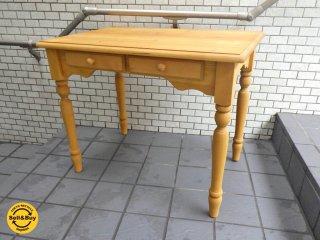 アンティーク スタイル Antique style パイン材 デスク ワークテーブル 引き出し付き ■