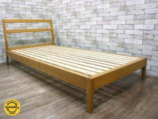 無印良品 MUJI タモ材 シングルサイズ 木製ベッドフレーム ナチュラルカラー チェアヘッドボード型 ●