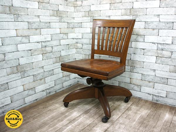 W.H. GUNLOCKE Chair Comany ビンテージ スウィブル デスクチェア オーク材 無垢材 50`s US アンティーク ●