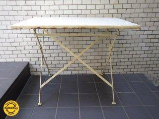 シャビーシック タイルトップ フォールディング テーブル ガーデン フレンチホワイト 折畳 テーブル ■