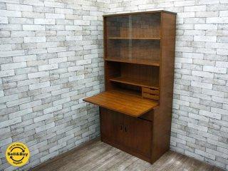 北欧スタイル ヴィンテージ チーク材 ライティングビューロー デスク 机 書棚 本棚 食器棚 カップボード ●