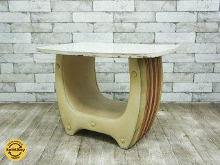 ジャパンビンテージ サイドテーブル レトロ ストライプ ●