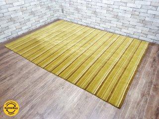 ハグミ hagumi てざわりシリーズ tezawari 大型ラグ 絨毯 Lサイズ グリーンストライプ 定価約10万円 ●