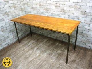インダストリアルスタイル リメイクテーブル 無垢集成材天板 x 鉄脚 ワークテーブル アトリエ デスク ●