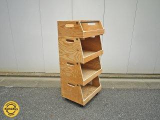 アスプルンド / ASPLUND PLYWOOD Factoryシリーズ 木製4段スタッキングボックス パイン材 ワゴン ◎