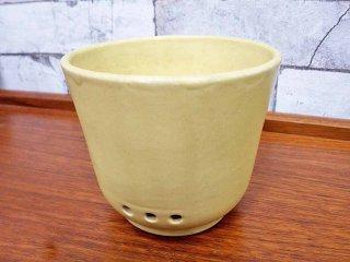 アラビア ARABIA ビンテージ 陶器のプランター フラワーポット 横穴&内水切り付 イエロー 希少 ●