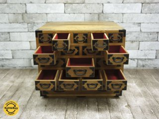 ビンテージスタイル 杉材 木製小引き出し 薬箱 ●