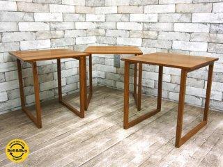 Vildbjerg Mobelfabrik チーク材 ビンテージ 3つ組テーブル ネストテーブル カイクリスチャンセン Kai Kristiansen 北欧 デンマーク ●