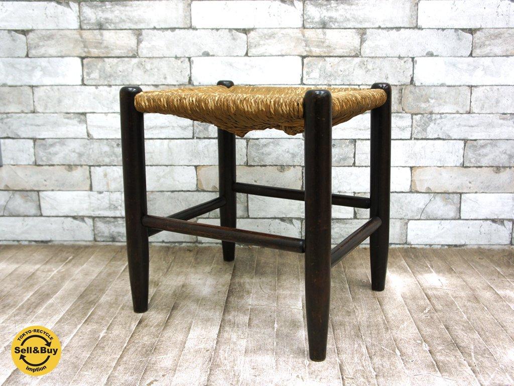 松本民芸家具 19型 ラッシ スツール ミズメザクラ 椅子 定価¥54,000 a ◎