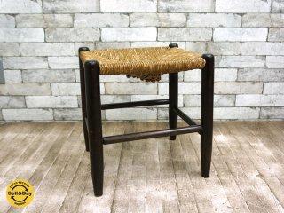 松本民芸家具 19型 ラッシ スツール ミズメザクラ 椅子 定価¥54,000 b ◎