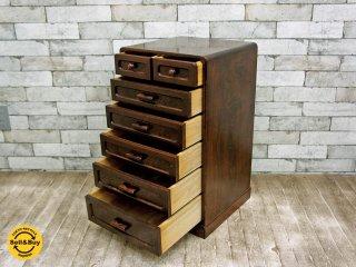 ジャパンビンテージ 木製 スモールチェスト 6段7杯 小型収納 ●