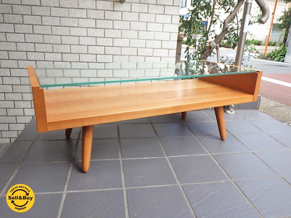 ウニコ unico エッコ ECCO チェリー材 センターテーブル ガラス ローテーブル ■