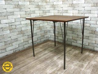 オリジナル リメイクテーブル 無垢材板合わせ 天板 x 鉄脚 インダストリアル 無垢集成材 アイアンレッグ ■