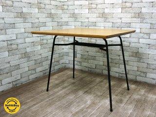 オリジナル リメイクテーブル オーク材 天板 x 鉄脚 インダストリアル 無垢集成材 アイアンレッグ ●